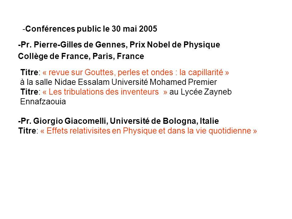 -Conférences public le 30 mai 2005