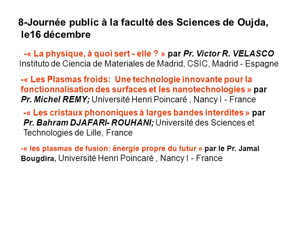 8-Journée public à la faculté des Sciences de Oujda, le16 décembre