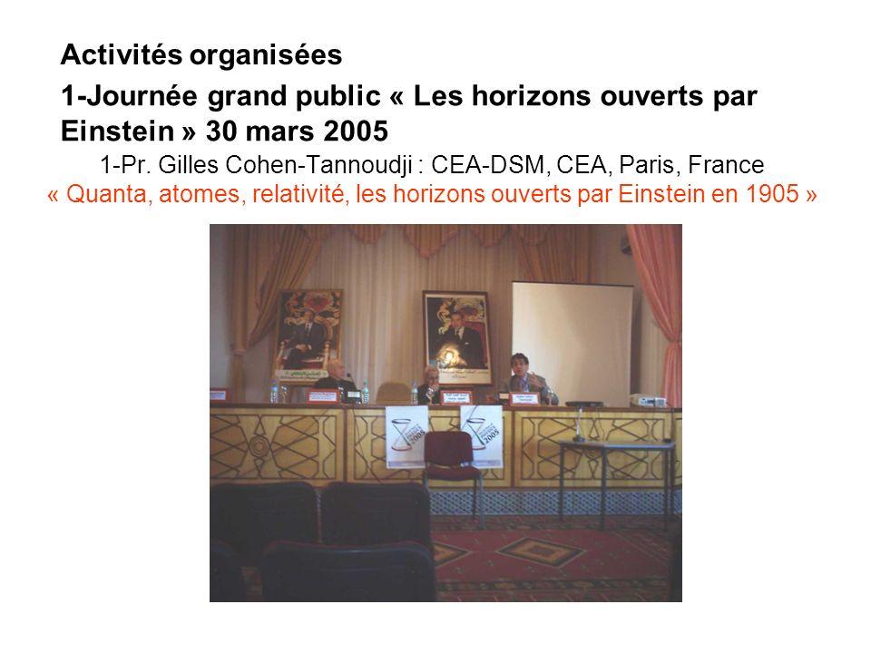 Activités organisées 1-Journée grand public « Les horizons ouverts par Einstein » 30 mars 2005.