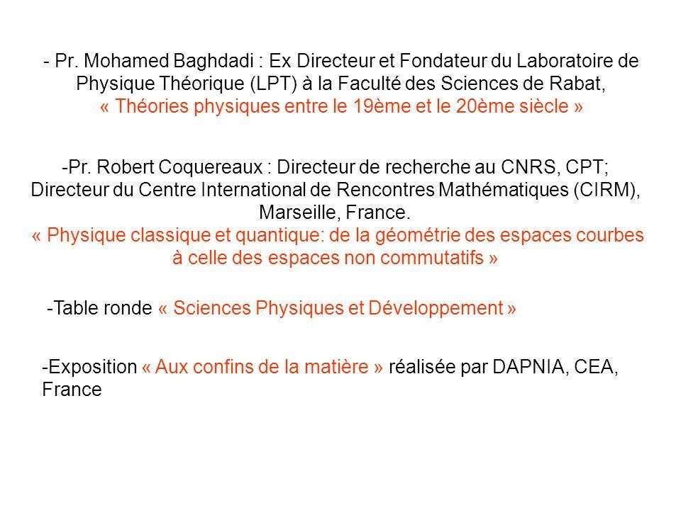 - Pr. Mohamed Baghdadi : Ex Directeur et Fondateur du Laboratoire de Physique Théorique (LPT) à la Faculté des Sciences de Rabat, « Théories physiques entre le 19ème et le 20ème siècle »