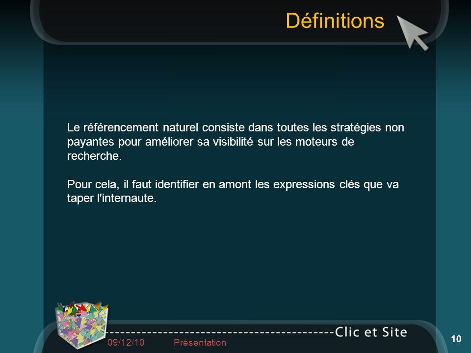 DéfinitionsLe référencement naturel consiste dans toutes les stratégies non payantes pour améliorer sa visibilité sur les moteurs de recherche.