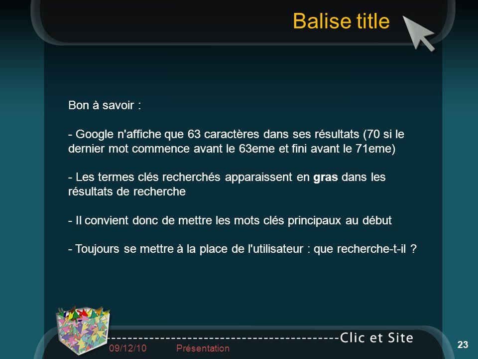 Balise title Bon à savoir :