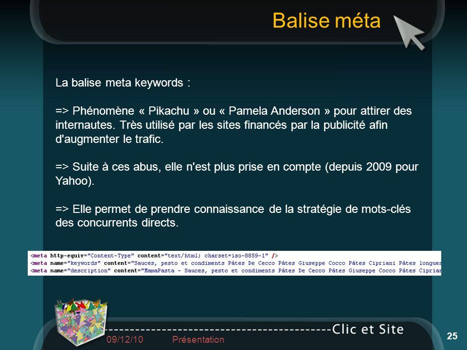 Balise méta La balise meta keywords :
