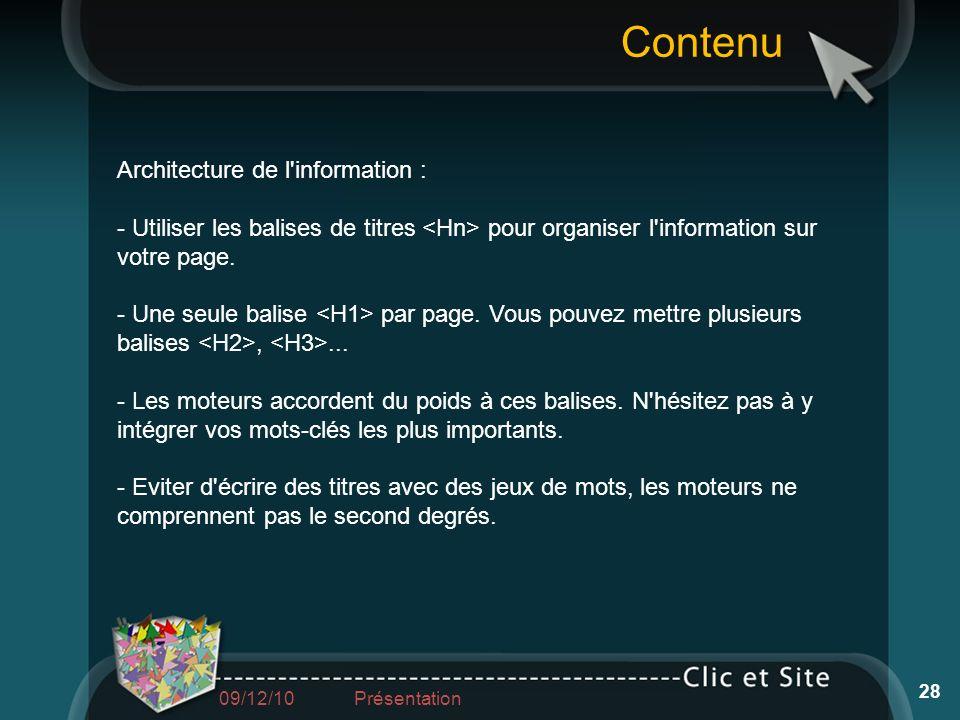 Contenu Architecture de l information :