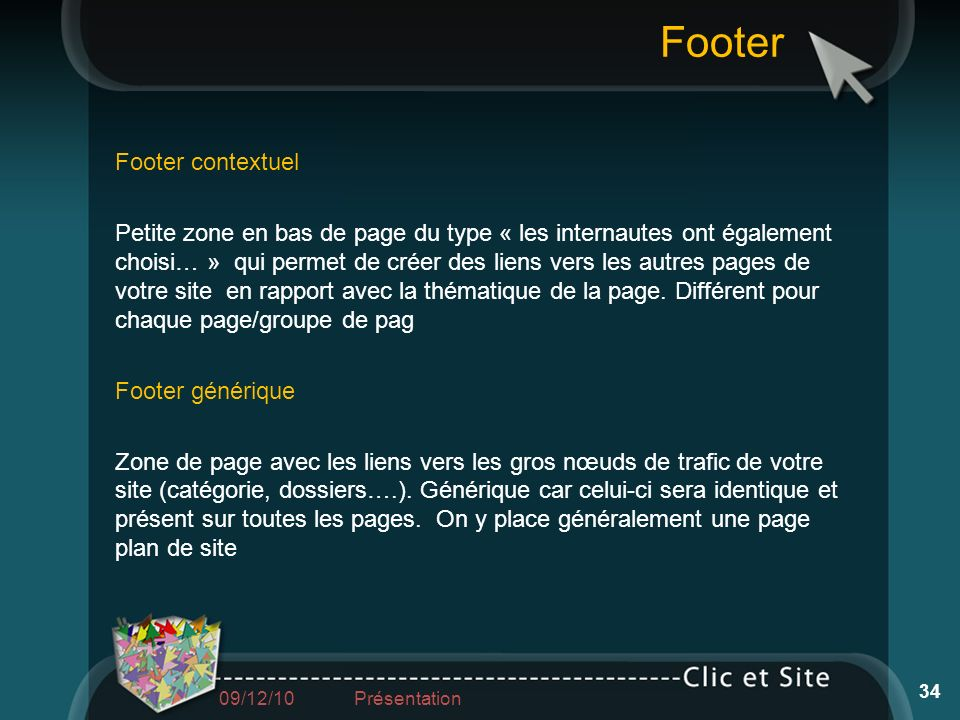 Footer Footer contextuel