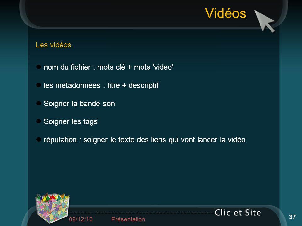 Vidéos Les vidéos nom du fichier : mots clé + mots video