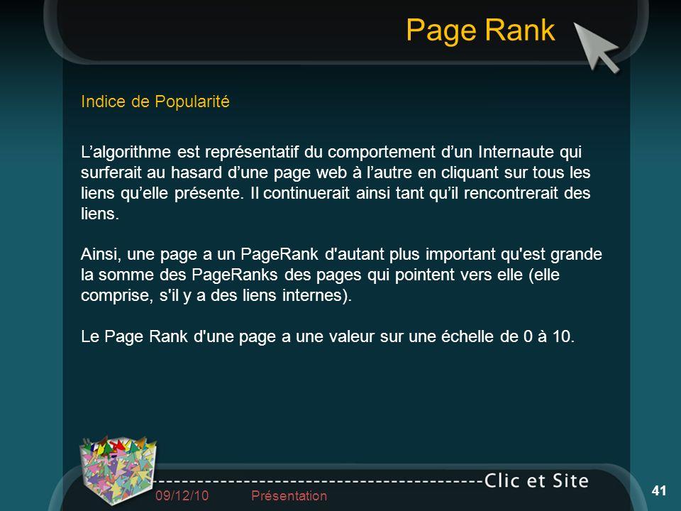 Page Rank Indice de Popularité