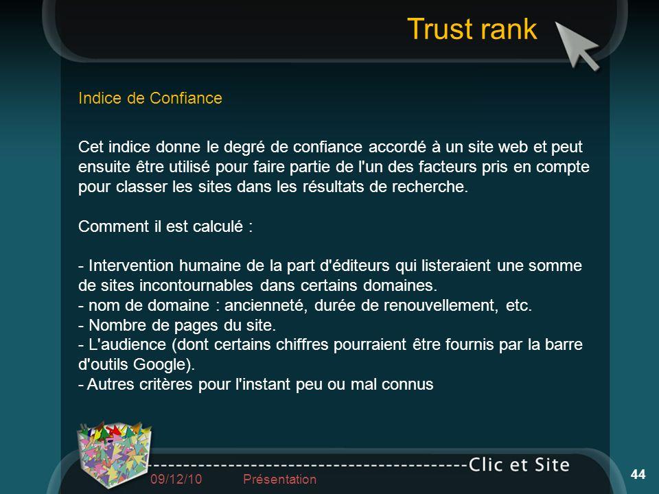 Trust rank Indice de Confiance