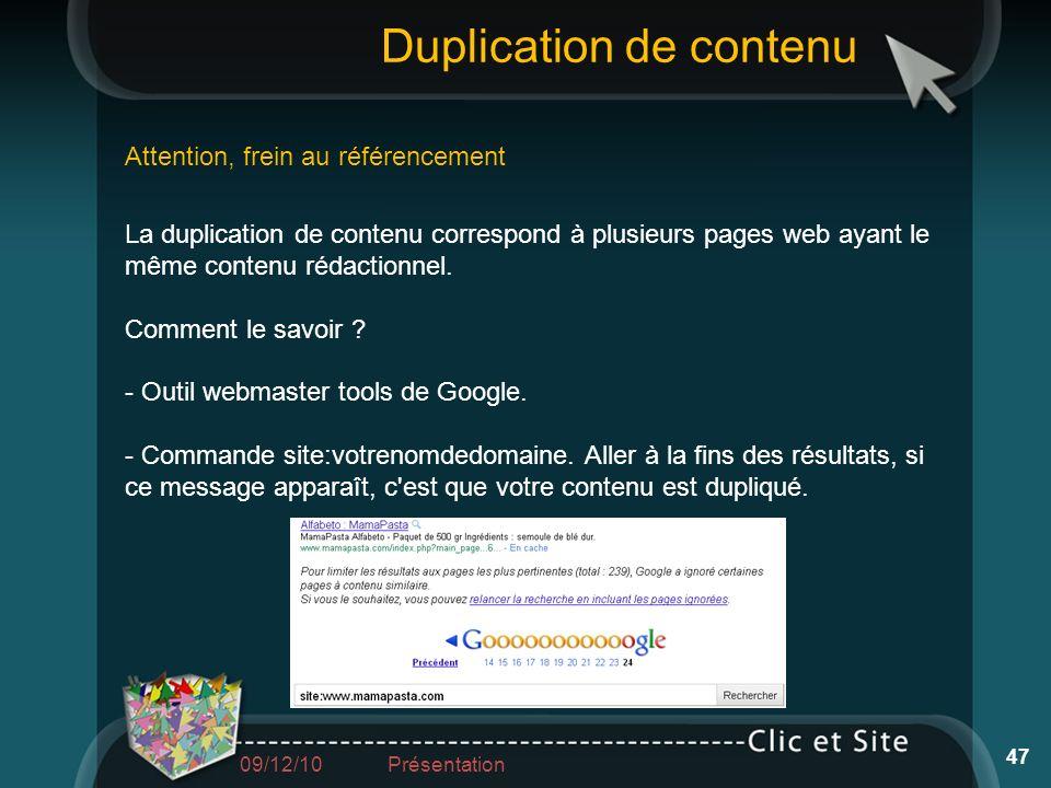 Duplication de contenu