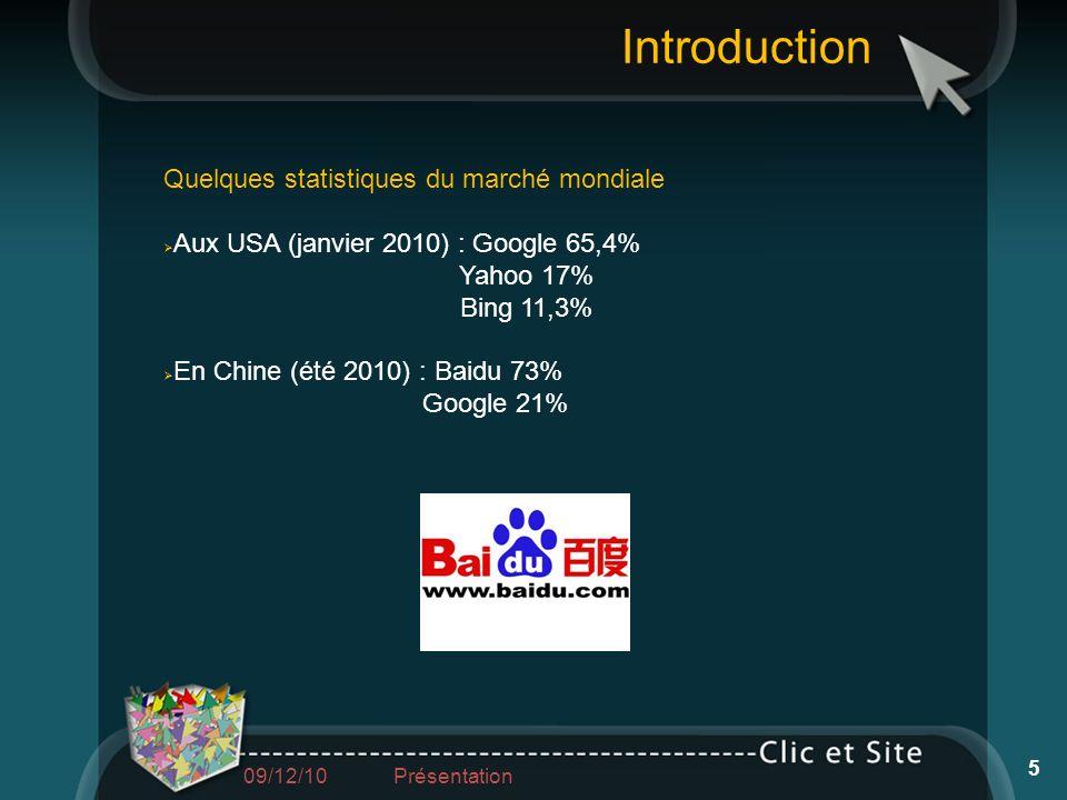 Introduction Quelques statistiques du marché mondiale