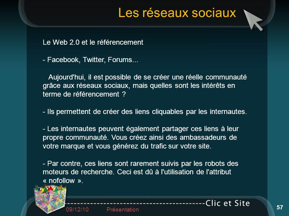 Les réseaux sociaux Le Web 2.0 et le référencement