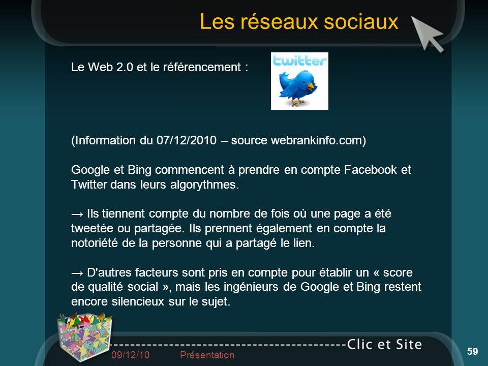 Les réseaux sociaux Le Web 2.0 et le référencement :