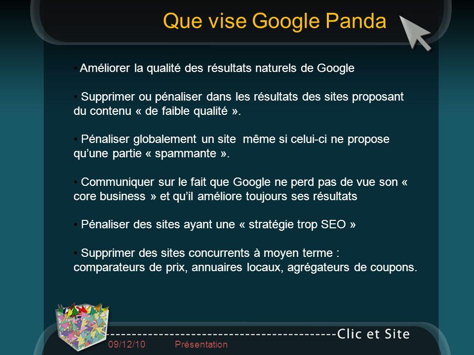 Que vise Google PandaAméliorer la qualité des résultats naturels de Google.