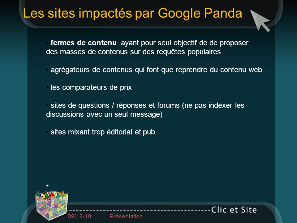Les sites impactés par Google Panda