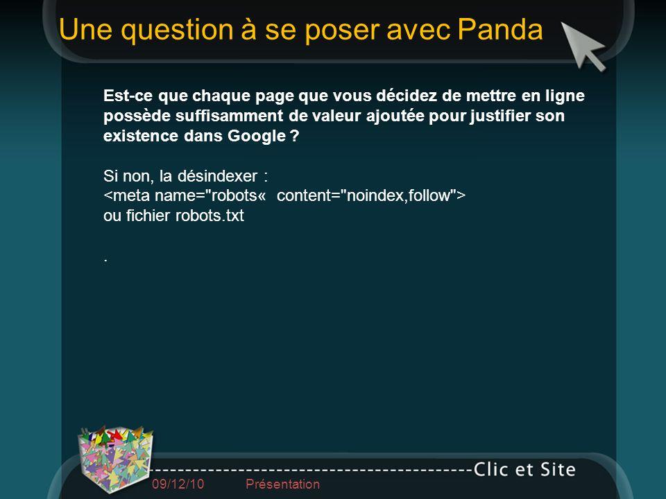 Une question à se poser avec Panda