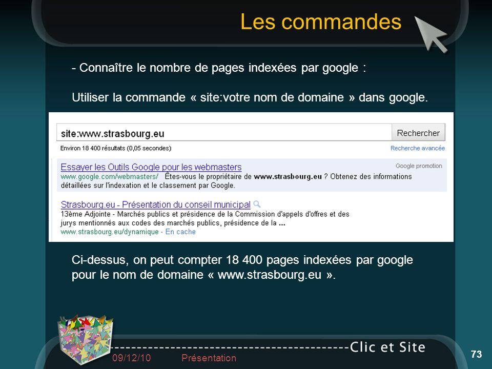 Les commandes - Connaître le nombre de pages indexées par google :