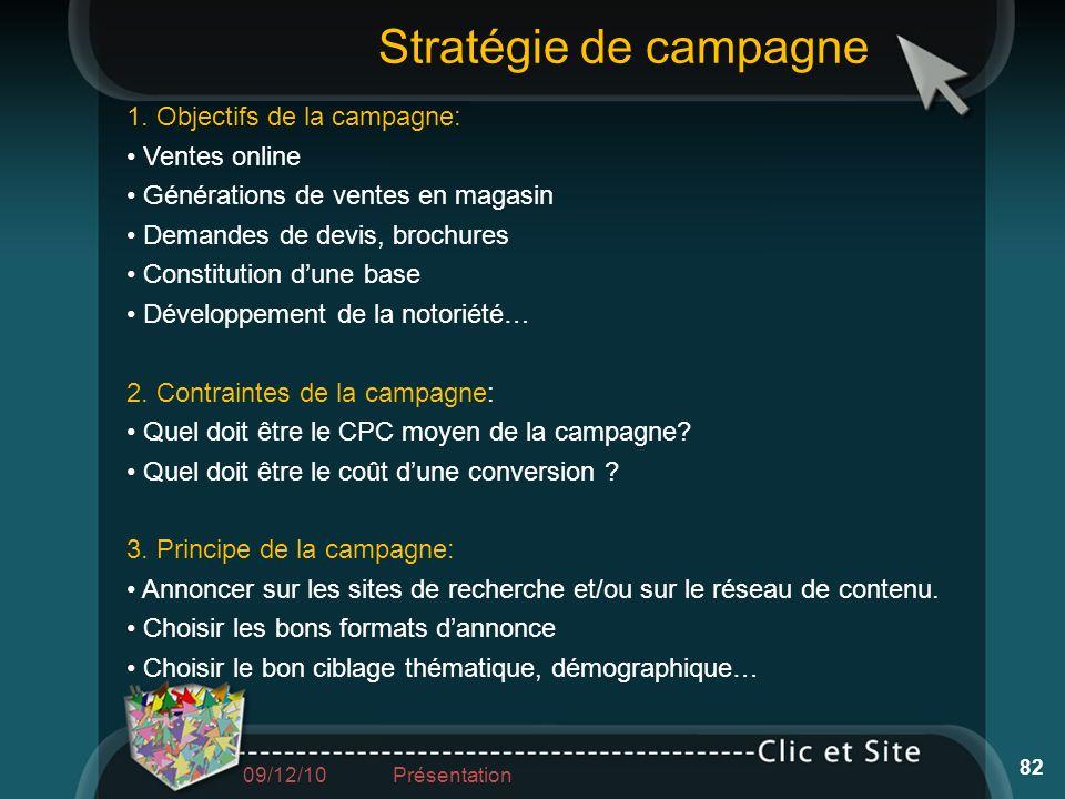 Stratégie de campagne 1. Objectifs de la campagne: • Ventes online