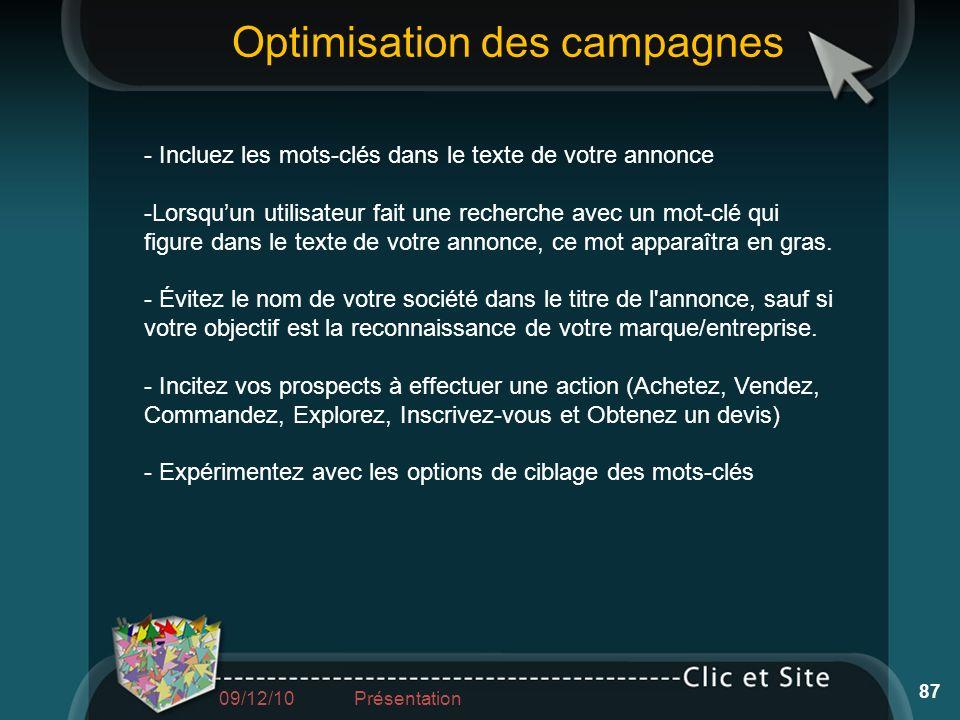 Optimisation des campagnes