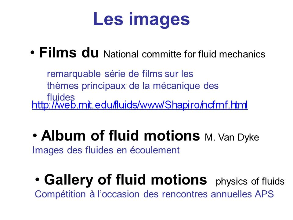 Les images Films du National committe for fluid mechanics