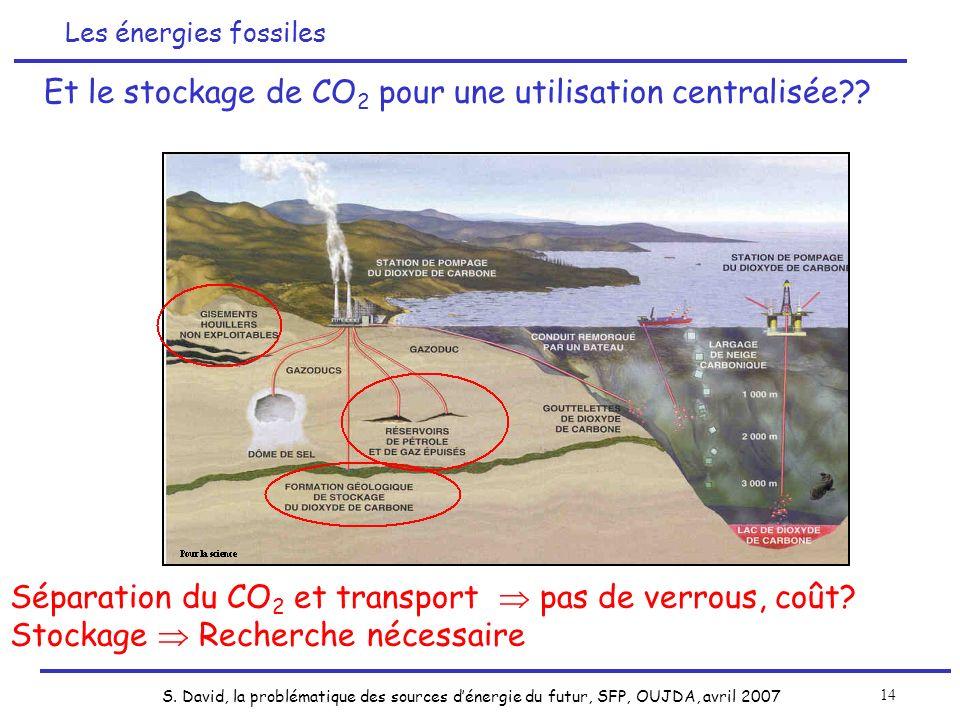 Et le stockage de CO2 pour une utilisation centralisée