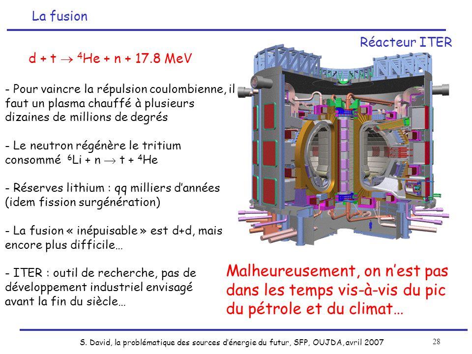 La fusiond + t  4He + n + 17.8 MeV. - Pour vaincre la répulsion coulombienne, il faut un plasma chauffé à plusieurs dizaines de millions de degrés.