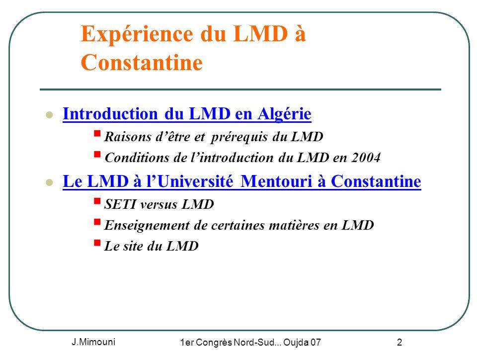 Expérience du LMD à Constantine
