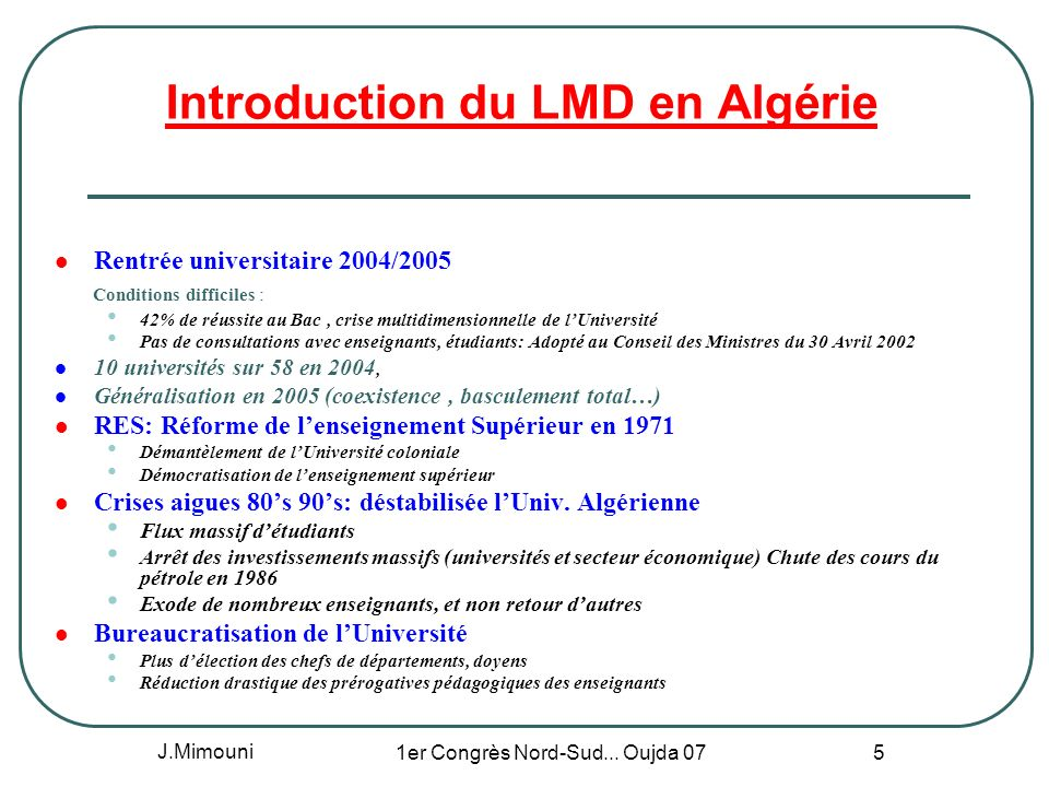 Introduction du LMD en Algérie