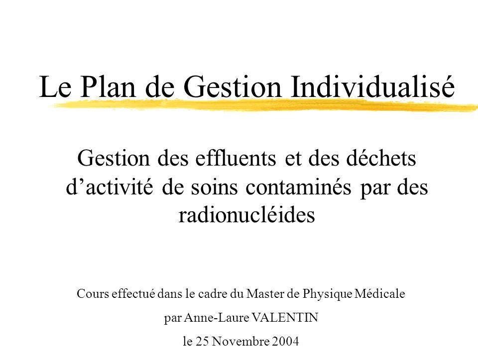 Le Plan de Gestion Individualisé Gestion des effluents et des déchets d'activité de soins contaminés par des radionucléides