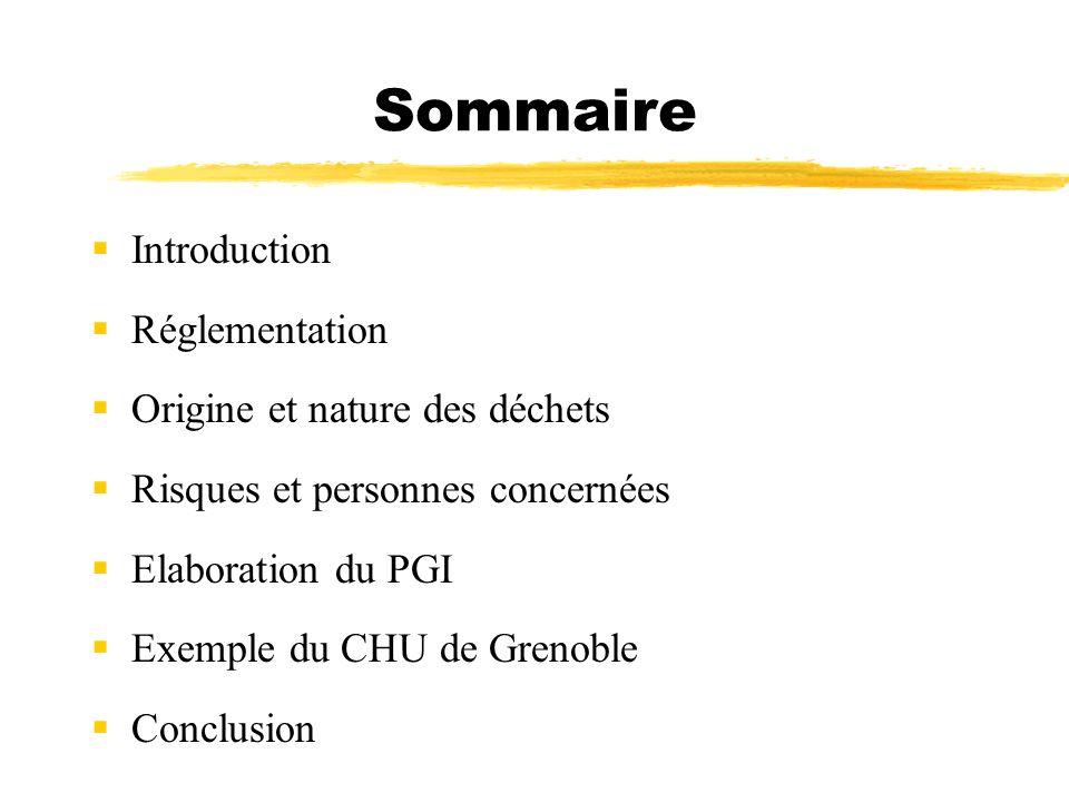 Sommaire Introduction Réglementation Origine et nature des déchets