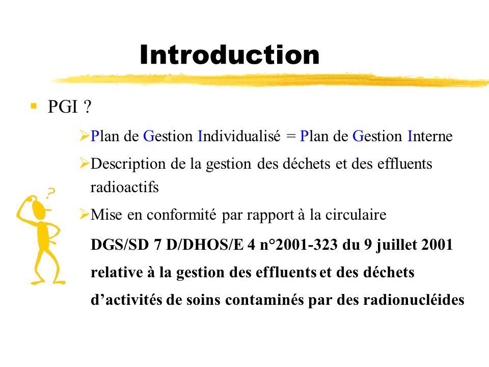 Introduction PGI Plan de Gestion Individualisé = Plan de Gestion Interne. Description de la gestion des déchets et des effluents radioactifs.