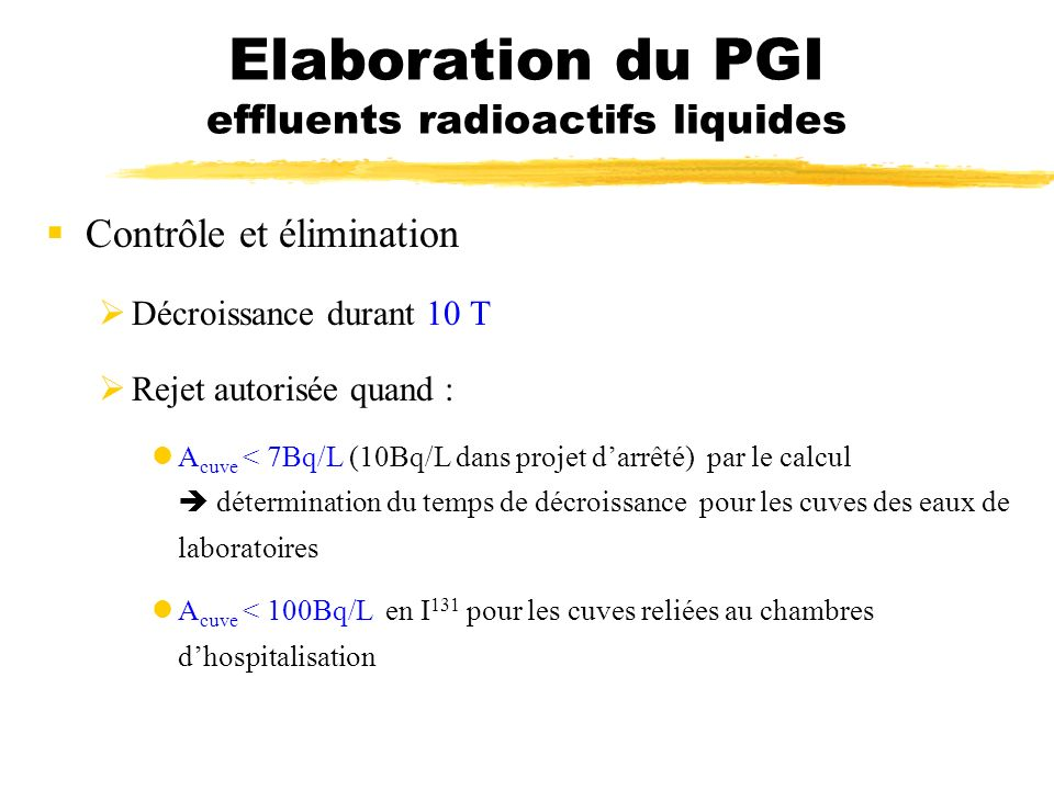 Elaboration du PGI effluents radioactifs liquides