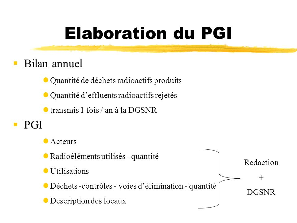 Elaboration du PGI Bilan annuel PGI