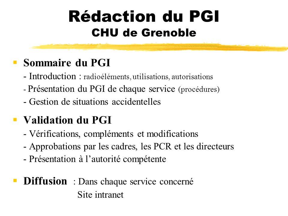 Rédaction du PGI CHU de Grenoble