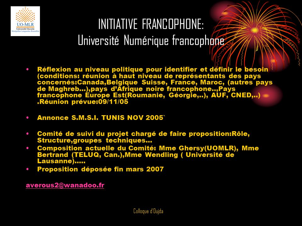 INITIATIVE FRANCOPHONE: Université Numérique francophone