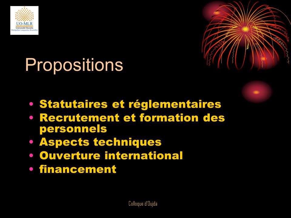 Propositions Statutaires et réglementaires