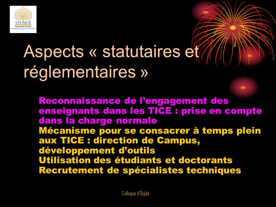 Aspects « statutaires et réglementaires »