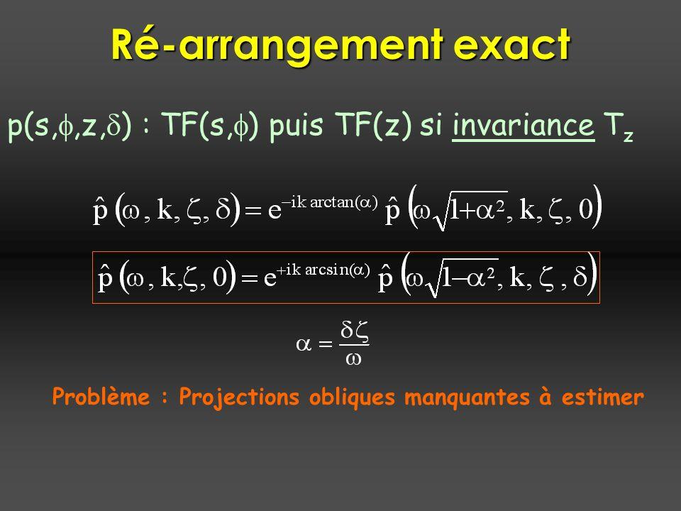 Problème : Projections obliques manquantes à estimer