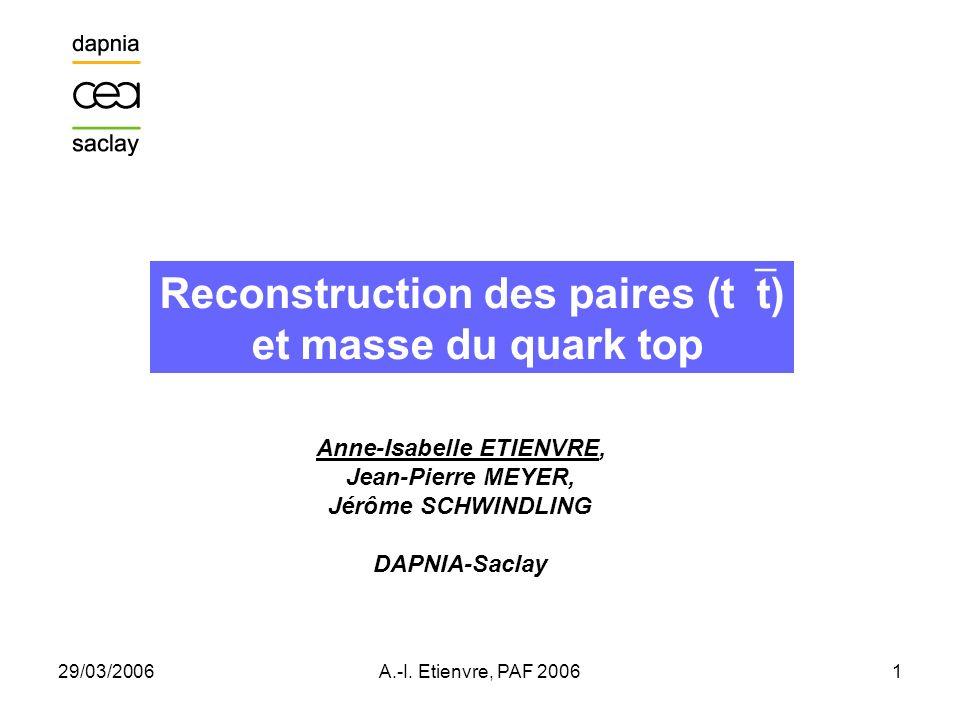 Reconstruction des paires (tt) Anne-Isabelle ETIENVRE,