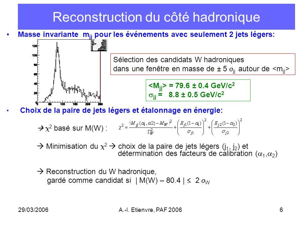 Reconstruction du côté hadronique