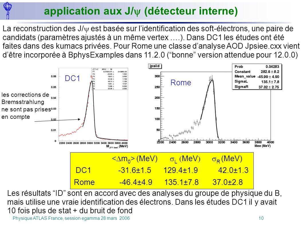application aux J/y (détecteur interne)