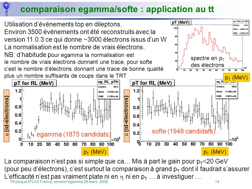 comparaison egamma/softe : application au tt