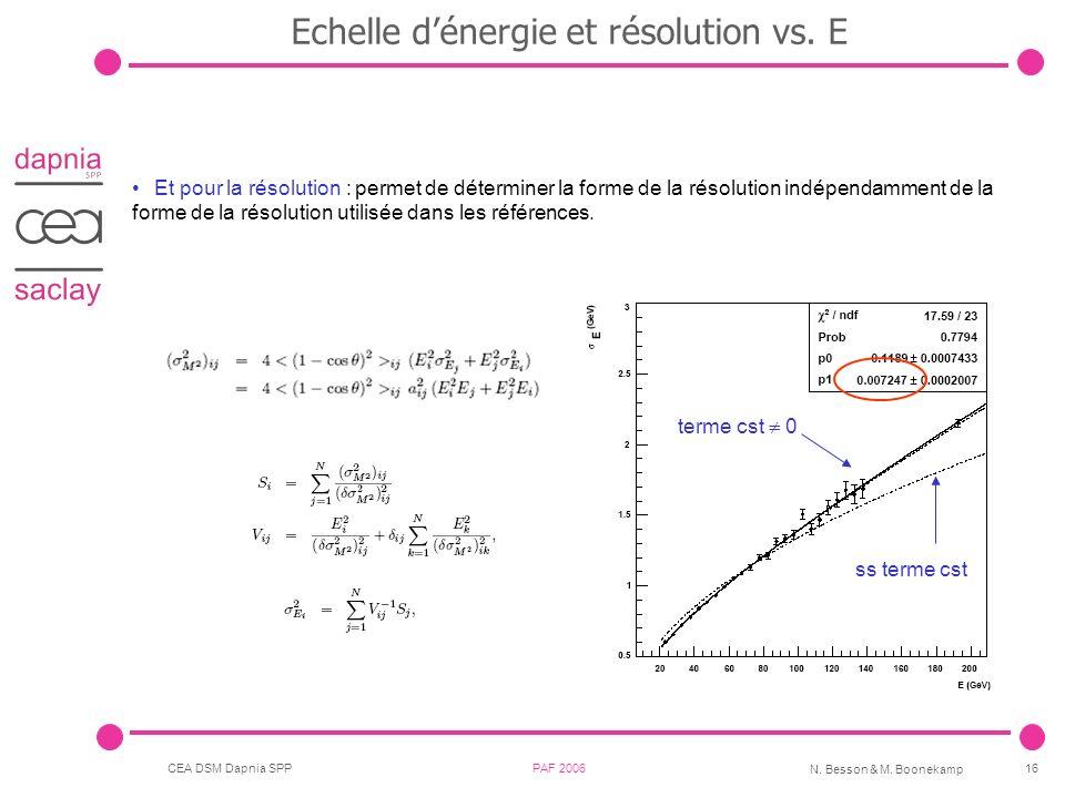 Echelle d'énergie et résolution vs. E
