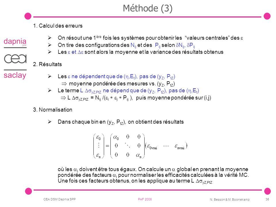 Méthode (3) Calcul des erreurs