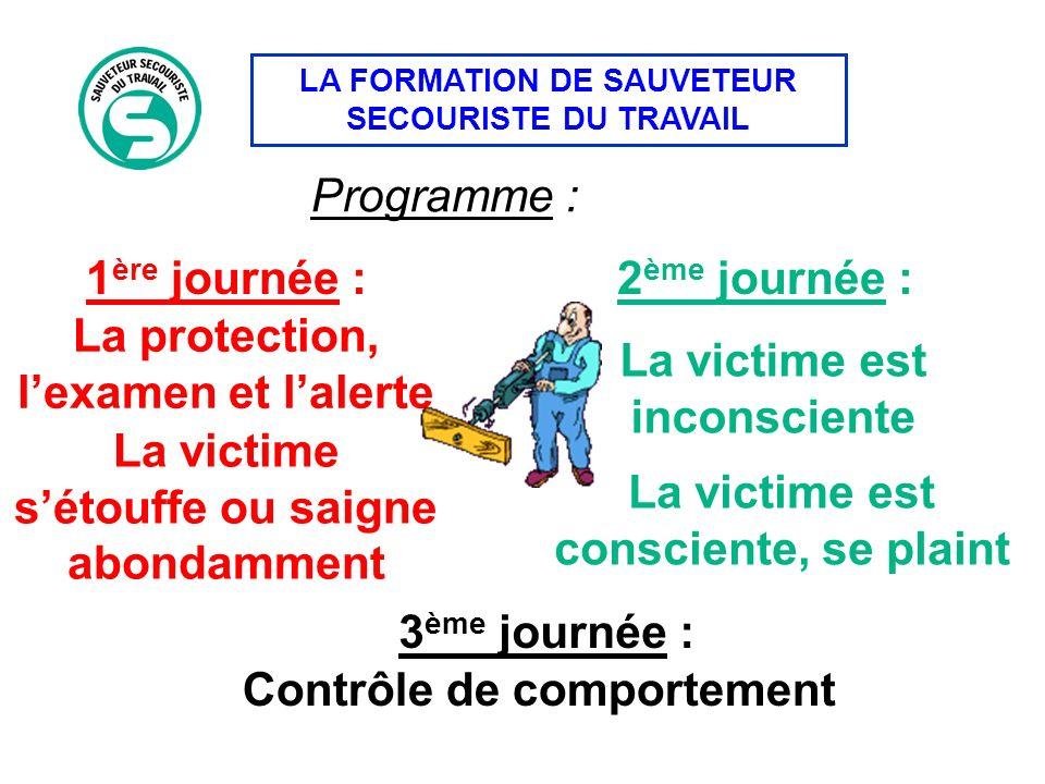La protection, l'examen et l'alerte La victime est inconsciente
