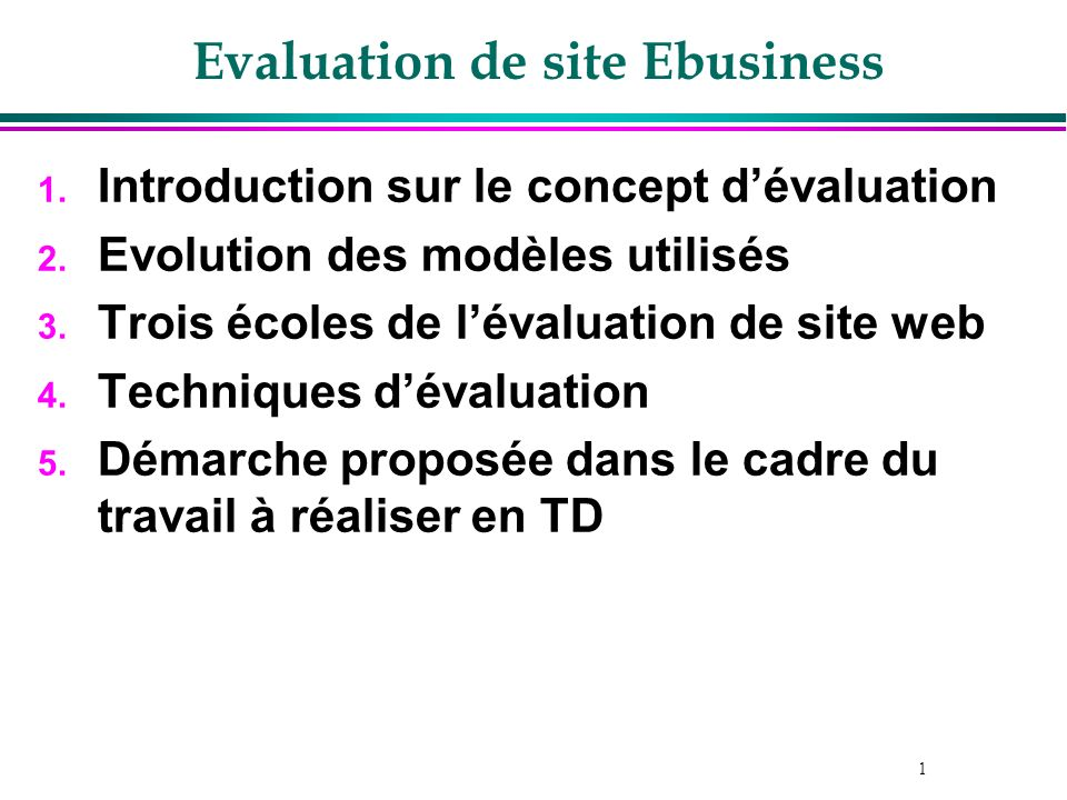 Evaluation de site Ebusiness