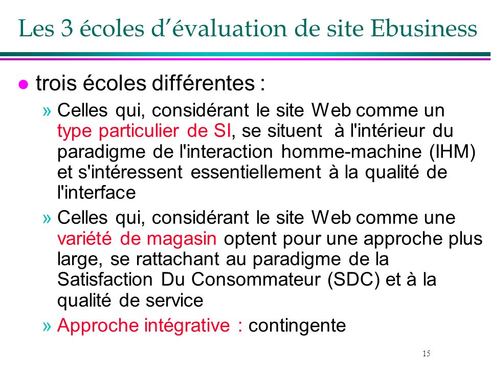 Les 3 écoles d'évaluation de site Ebusiness