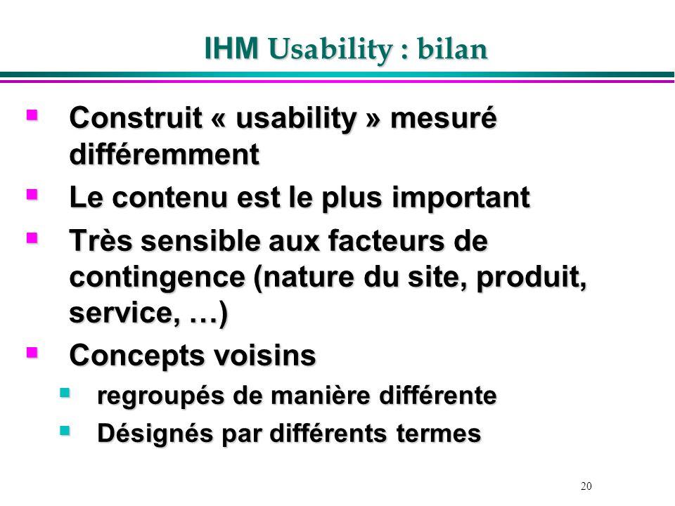 Construit « usability » mesuré différemment