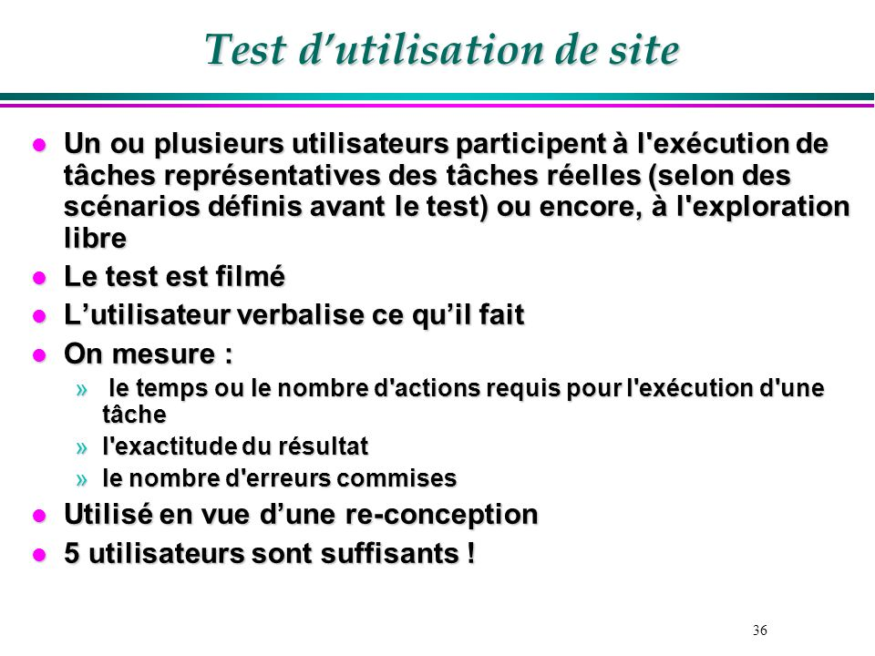 Test d'utilisation de site