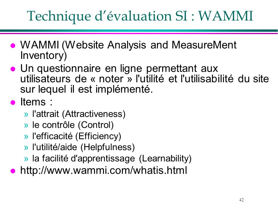 Technique d'évaluation SI : WAMMI