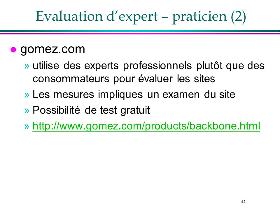Evaluation d'expert – praticien (2)